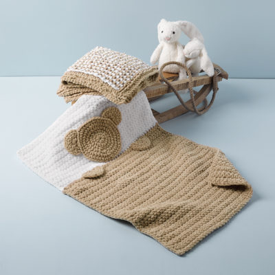 Crochet teddy blanket TEDDY in yarn Bambi Katia Yarns