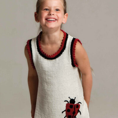 Viking Yarn knits patterns 1004-09. Yarn Björk. Knitted dress for children.