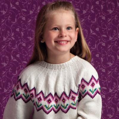 Viking Yarn knits patterns 1004-10. Yarn Björk. Knitted children's sweater.
