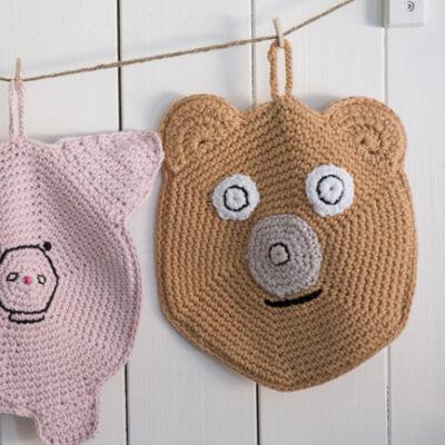 Viking Yarn crochet patterns 1421-07, 08, 09. Yarn Spring. Crocheted crochet owl, pig and bear.