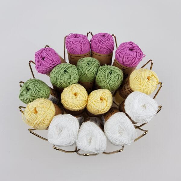 Tilda Cotton Eco - 5_Vit-gul-grön-ceriserosa