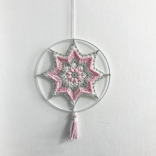Crocheted poinsettia on metal ring - Christmas Star Mandala_13